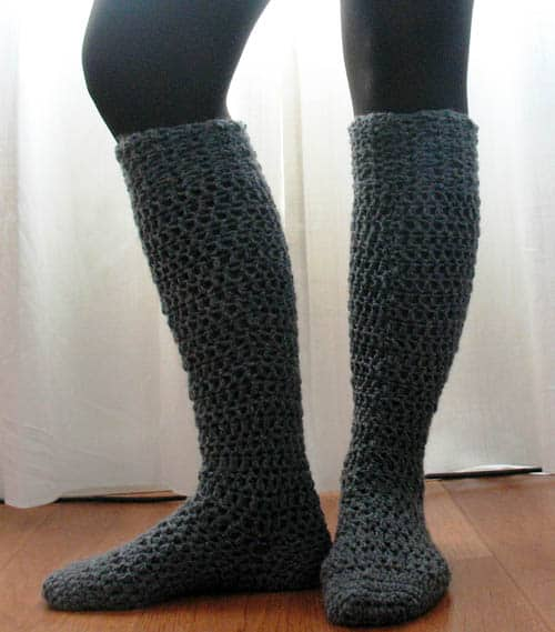 Chunky Knee-High Crochet Sock