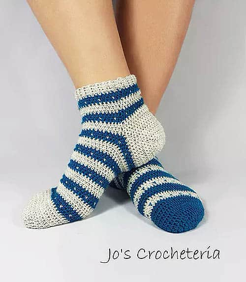 Hearts & Stripes Crochet Socks