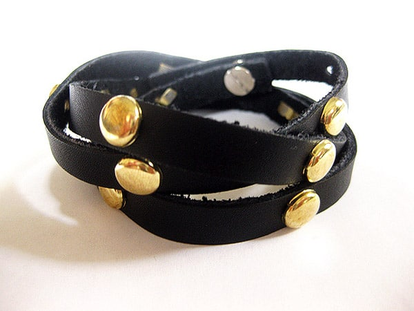 Studded Leather Wrap Bracelet - easy DIY bracelets