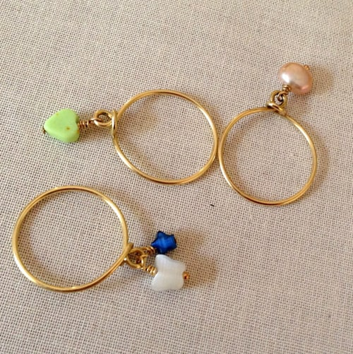Wire Wrap Stacking Ring with Bead Dangles - simple diy rings