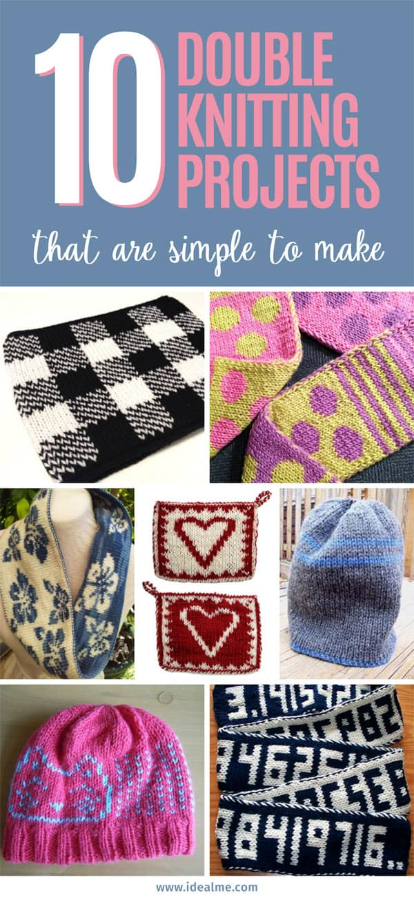 To get you started on your double knitting journey, here are 10 simple double knitting projects you can start with. #knitting #doubleknitting #knittingpatterns #knittingguru