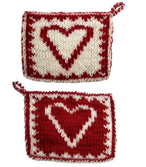 Heart Hot Pad - double knitting projects