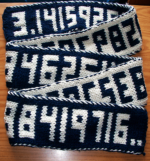 Pi Digits Scarf - double knitting projects