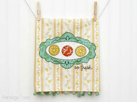 So Fresh! Citrus Embroidered Dishtowel - things to sew