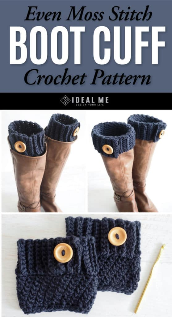 Even Moss Stitch Boot Cuff Crochet Pattern - Who doesn't love boot cuffs! Not only are they trendy and warm, but they add a custom touch to any pair of boots. Made with the even moss stitch - it's super easy to understand if you've never used it before and it creates a beautiful diagonal pattern without much effort. #crochetpattern #croochetbootcuffs #bootcuffs #freecrochetpattern #crochetlove #crochetaddict