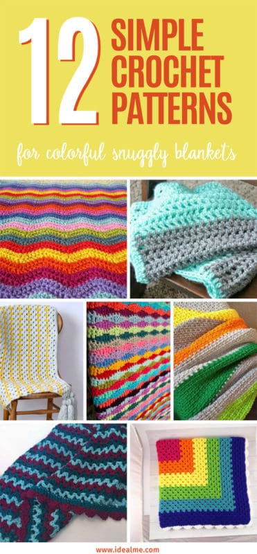 12 Simple Crochet Patterns for colorful blankets #crochet #crochetblanket #simplecrochet #crochetpatterns