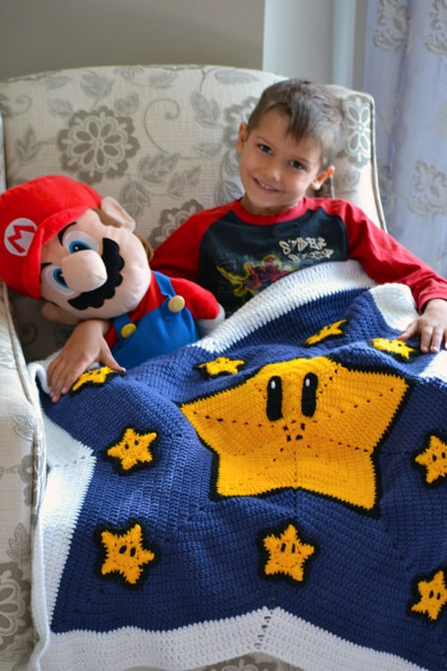Mario Star - free crochet blanket patterns