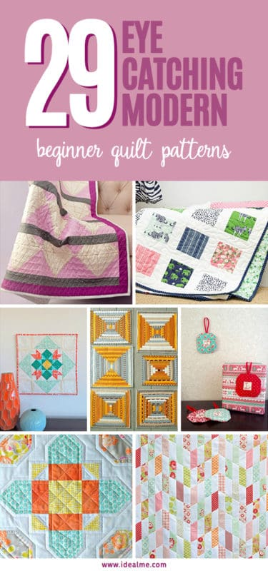 Check out these eye-catching modern #beginnerquiltpatterns, something easy that you can do to practice!  #quilting #quiltpatterns #modernquilts