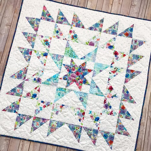 Blue Carolina Starburst Quilt - beginner quilt patterns