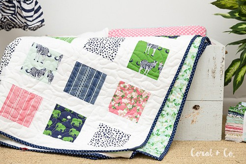 Easy Safari Party Charm Square - beginner quilt patterns