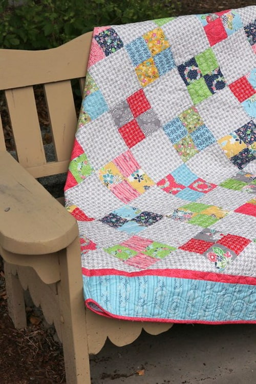 Farmhouse Four Patch - beginner quilt patterns