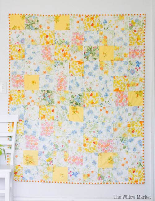 Patchwork Quilt from Vintage Sheets - beginner quilt patterns