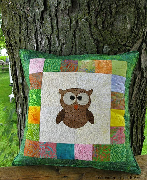 Tree Owl Quilted Pillow - beginner quilt patterns