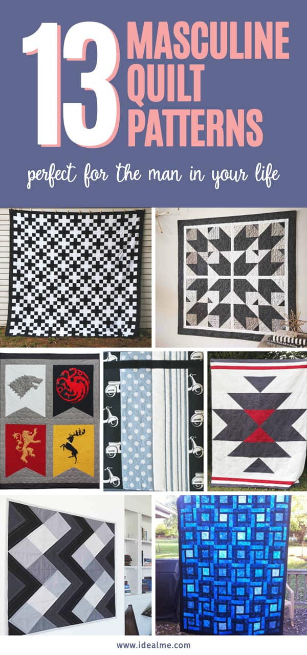 We've collected the most thoughtful and masculine quilt patterns for men, for you to make. #quiltpatterns #quilting #quiltpatternsformen #quiltingpatterns