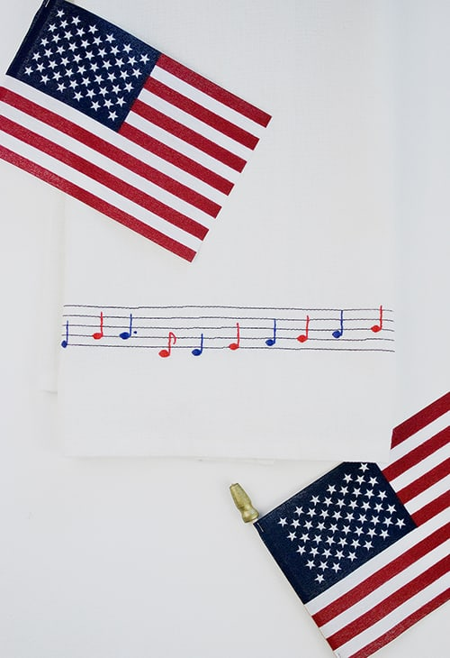 Fourth of July Musical Dish Towel