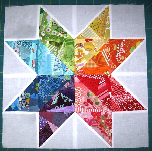 Scrappy Rainbow Star Quilt Blocks