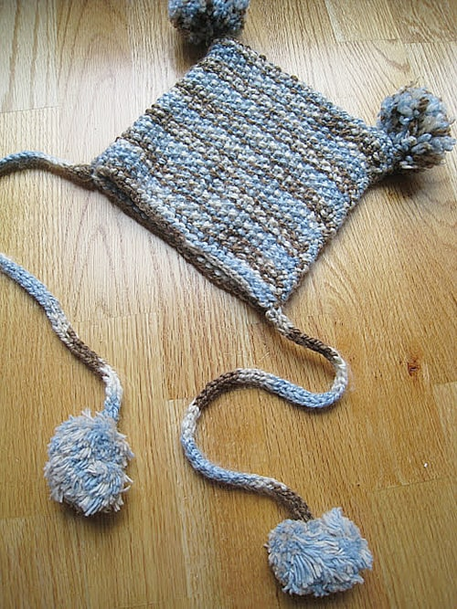 Simple Knit Rectangle Hat with Pom Poms