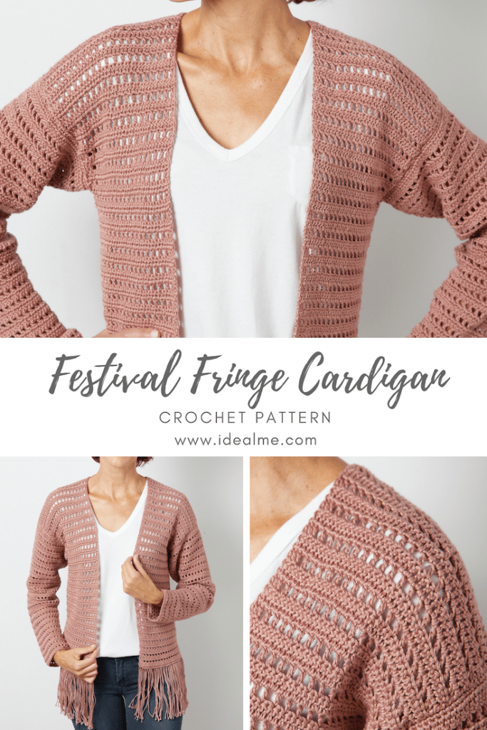 Festival Fringe Cardigan - When festival season is in full swing, this is the kind of festival fringe cardigan crochet pattern you're looking for. #crochet #crochetpattern #crochetcardigan #crochettop