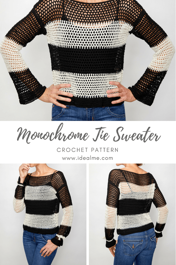 This monochrome tie sweater is classy, cute, and something you need to have in your closet. #crochettop #crochetsweater #crochetpattern #crochetlove #crochetaddict