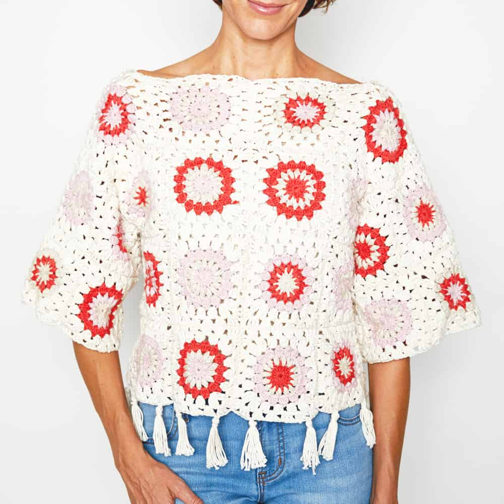 Granny Squares are perfect for crafting festival clothing that's going to stun in your latest Instagram post. #crochettop #crochetsweater #crochetjumper #crochetpattern #crochetaddict #crochetlove