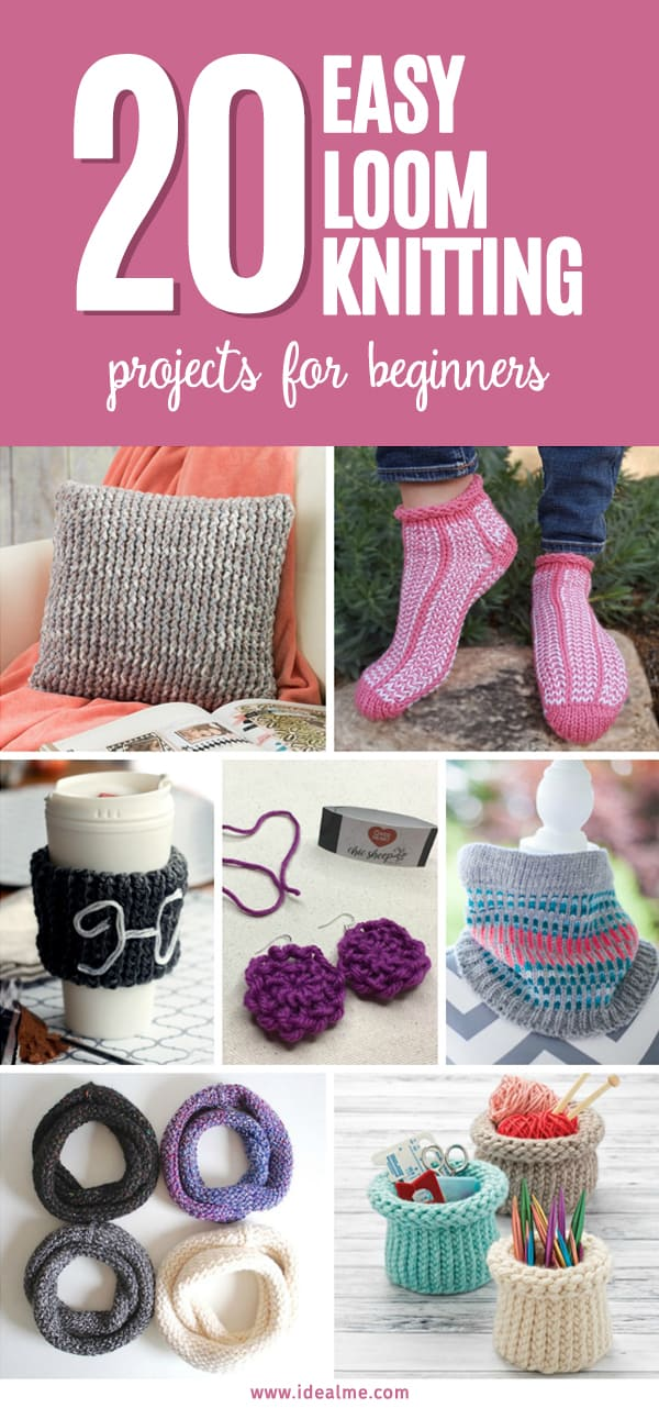 From pillows to accessories or just little knick-knacks, 20 Loom Knitting Projects for Beginners provides great gift ideas and will have you knitting in no time. #loomknitting #knitting #loomknit #easyloomknitting