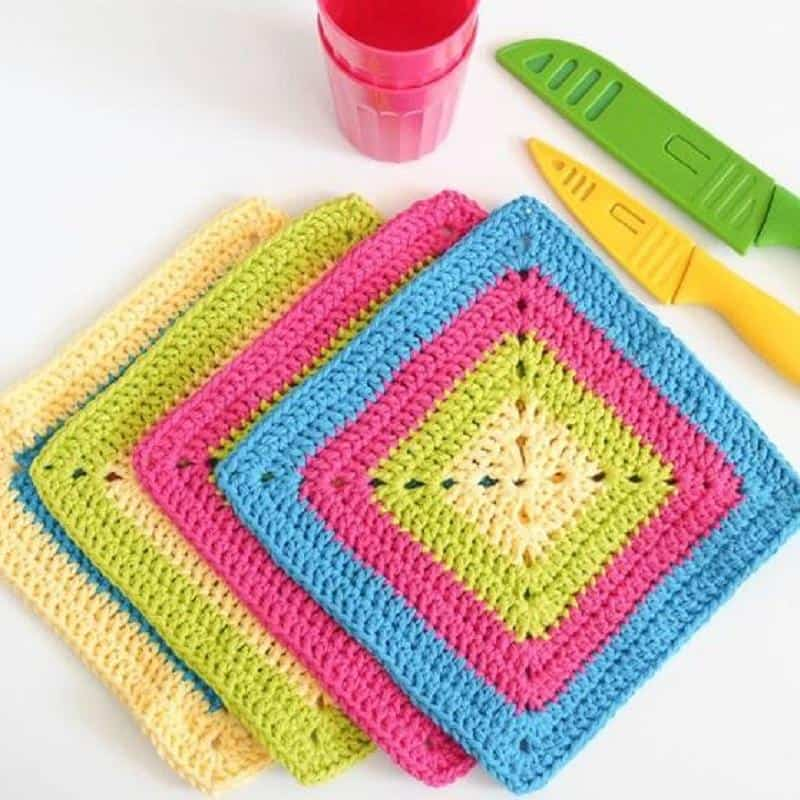 Colorful Solid Granny Square Dishcloth