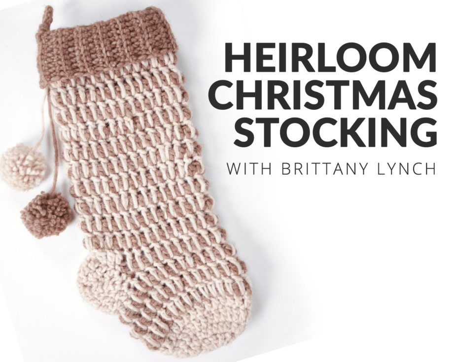 The Heirloom Christmas Stocking uses the decorative spike stitch to create a beautiful texture and add durability (so it can hold all your goodies). #crochetstocking #crochetchristmas #crochetpattern #crochetclass