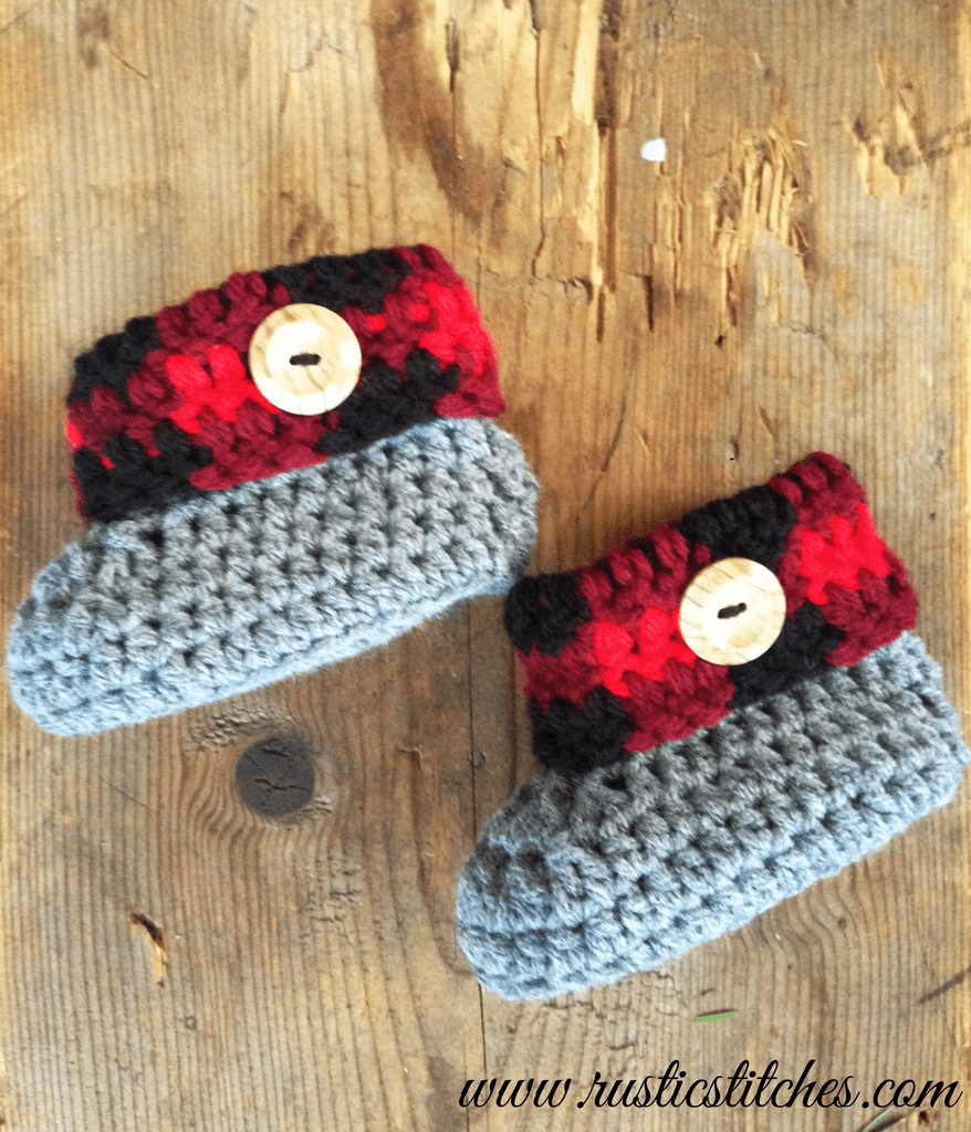 Plaid Cuff Baby Booties