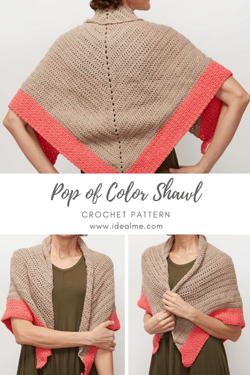 This shawl crochet pattern is easy to make and cozy to wear. The free crochet pattern will teach you how to crochet a triangle. #ShawlCrochetPattern #CrochetShawl #CrochetPattern #CrochetAddict