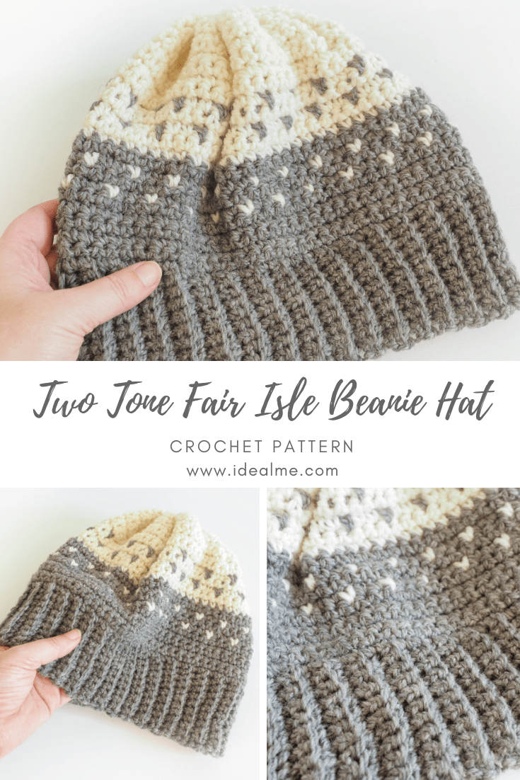 Two Tone Fair isle Beanie Hat Crochet Pattern