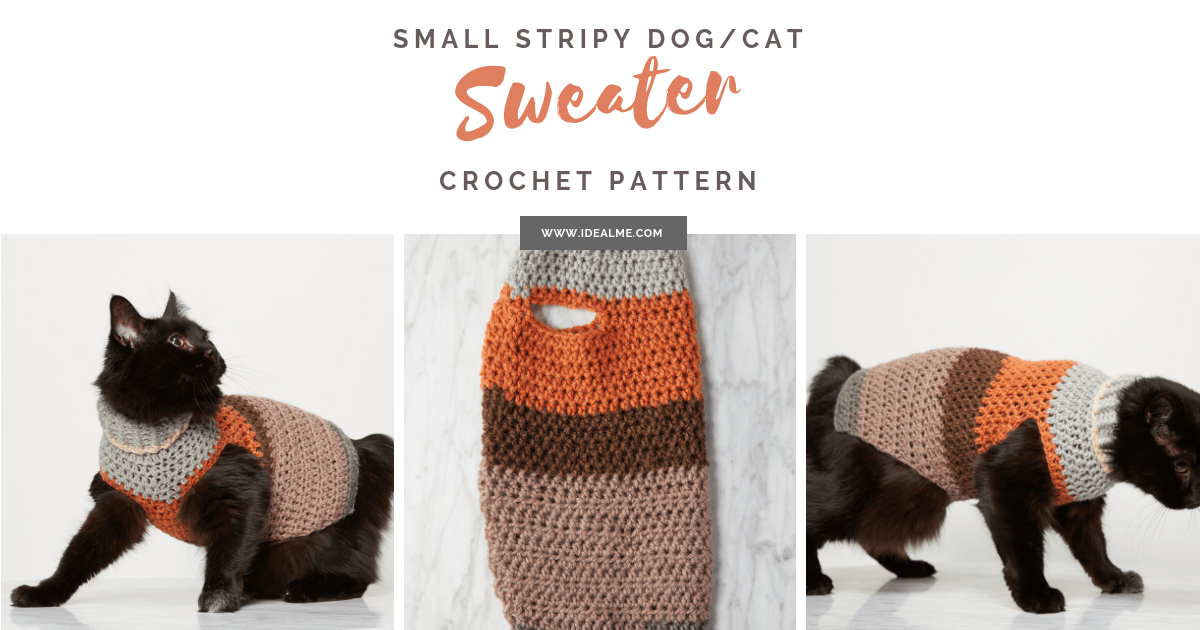 Small Pet Stripy Sweater Crochet Pattern Ideal Me