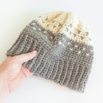 This is the perfect crochet hat for someone who loves color and design. The free crochet pattern uses the traditional fair isle technique. #CrochetHat #CrochetBeanie #CrochetPattern #CrochetAddict