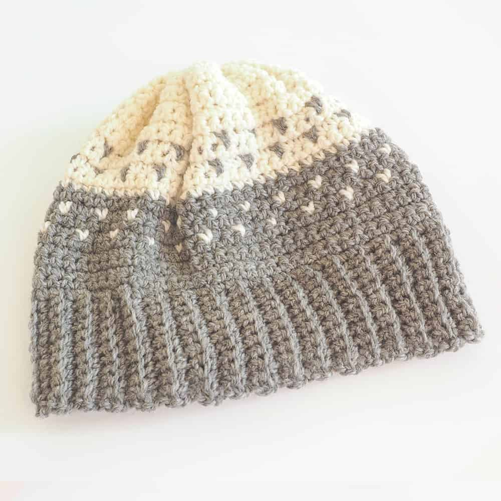 Two Tone Fair isle Beanie Hat