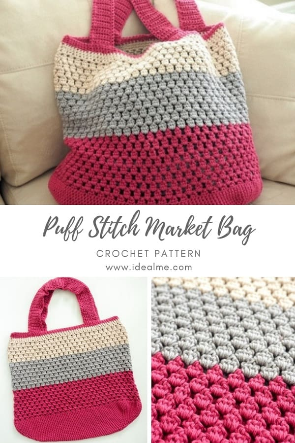 This crochet market bag pattern is beautiful with the puff stitch. Take this crochet bag everywhere with you. It can hold anything, and it looks great. #CrochetPuffStitch #CrochetBag #CrochetPattern #CrochetMarketBag