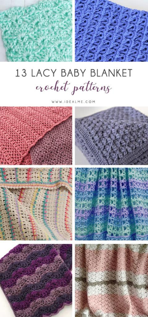 These lace baby blanket patterns are gentle, soft and cozy. Make a special family keepsake with one of these free crochet baby blanket patterns. #BabyBlanketCrochetPatterns #CrochetPatterns #LaceBabyBlanket #CrochetAddict