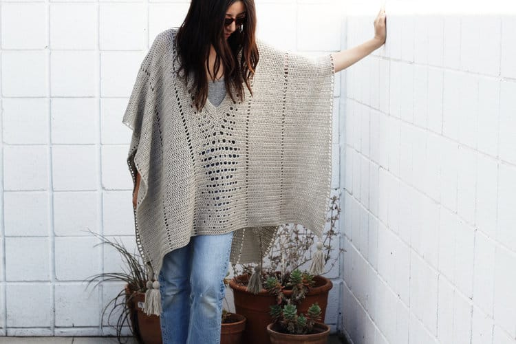 Cross Country Poncho - If you want to learn how to make a poncho, this list of 18 free crochet poncho patterns will help you. Pick your favorite from this bunch and start creating. #CrochetPonchoPatterns #FreeCrochetPatterns #CrochetAddict