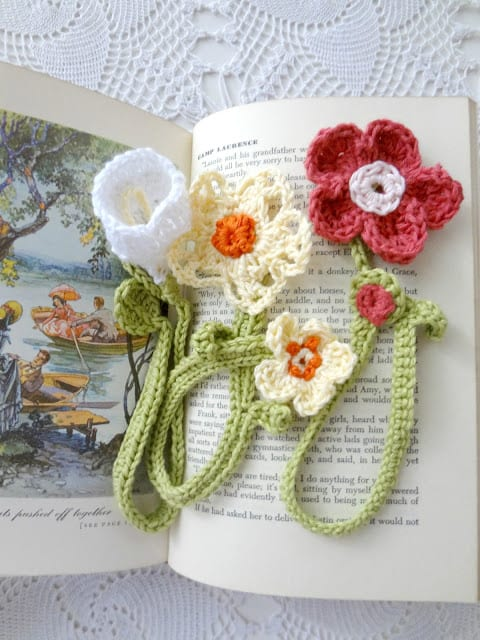 Crochet Flower Bookmarks - Learn how to crochet a flower and bring the magic of nature into your life with these crochet patterns.  Each one is unique and colorful. #CrochetFlowerPatterns #CrochetPatterns #FreeCrochetPatterns