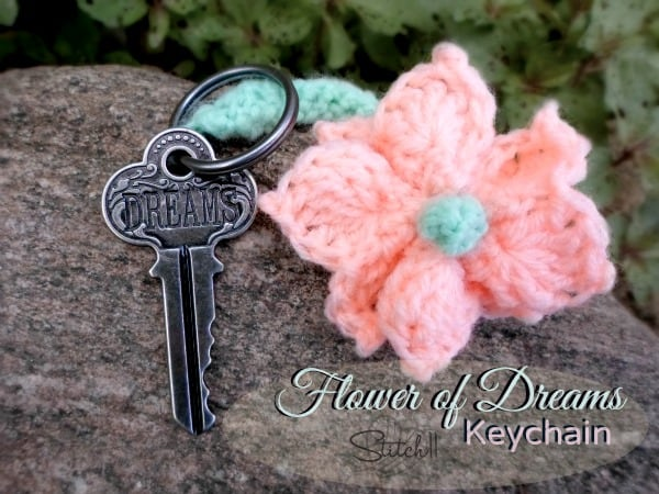 Crochet Flower Keychain - Learn how to crochet a flower and bring the magic of nature into your life with these crochet patterns.  Each one is unique and colorful. #CrochetFlowerPatterns #CrochetPatterns #FreeCrochetPatterns