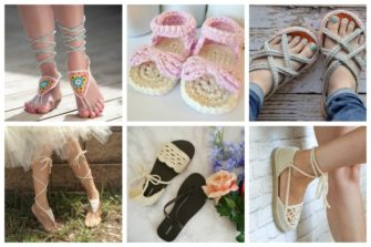 These crochet sandals and barefoot sandals are the perfect summer crochet projects. These crochet patterns take just a little bit of yarn. #CrochetSandals #CrochetPatterns #CrochetSandalPatterns