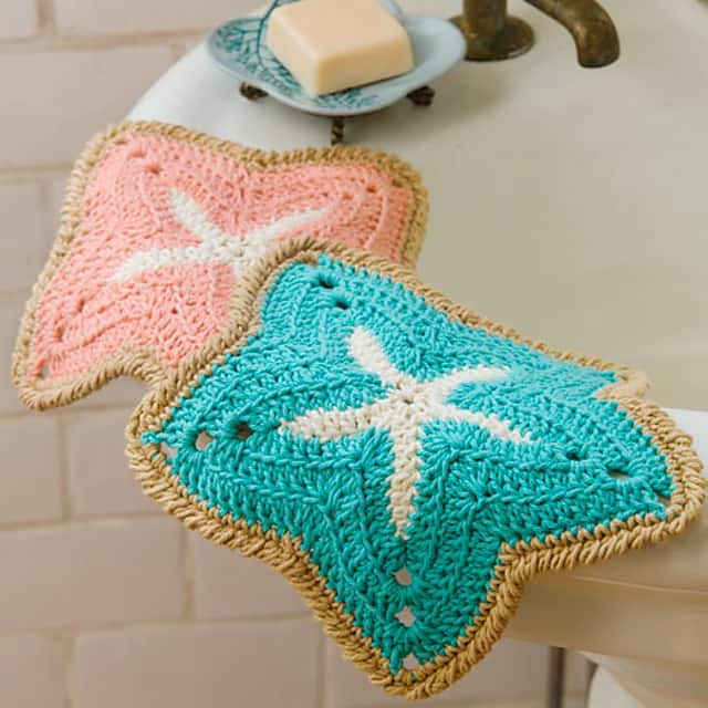 Starfish Dishcloths - These crochet dishcloth patterns are all free and are so different from each other. Test your creativity with one of these brilliant dishcloth patterns. #CrochetDishclothPatterns #CrochetPatterns #DishclothPatterns