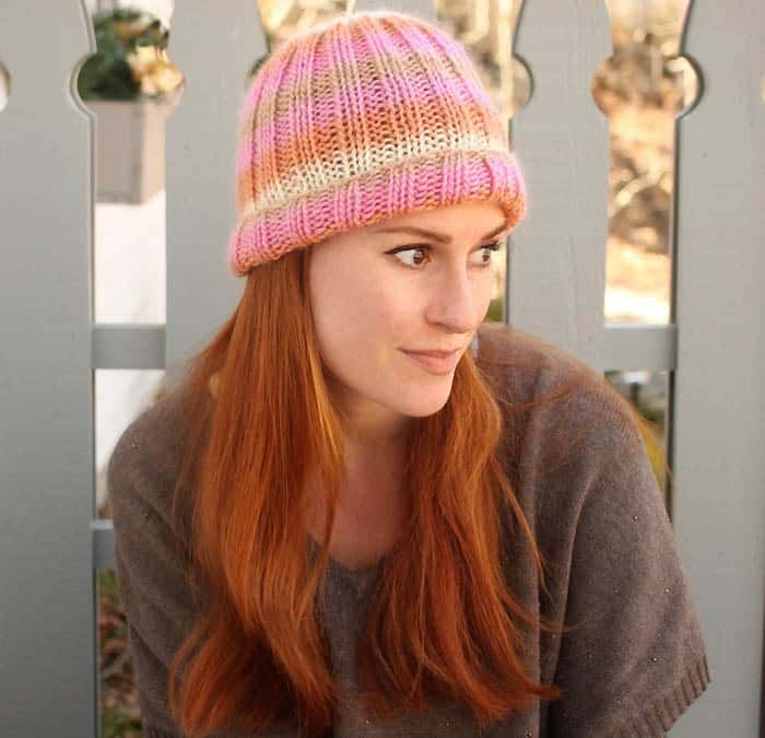 Classic Ribbed Knit Hat - These 23 easy knitting patterns for hats are a perfect starting place for beginners, and they're fun to do for even seasoned knitters. #knittingpatterns #knithatpatterns