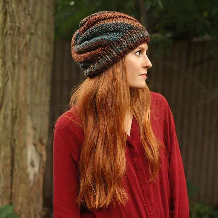Flat Knit Swirl Hat - These 23 easy knitting patterns for hats are a perfect starting place for beginners, and they're fun to do for even seasoned knitters. #knittingpatterns #knithatpatterns
