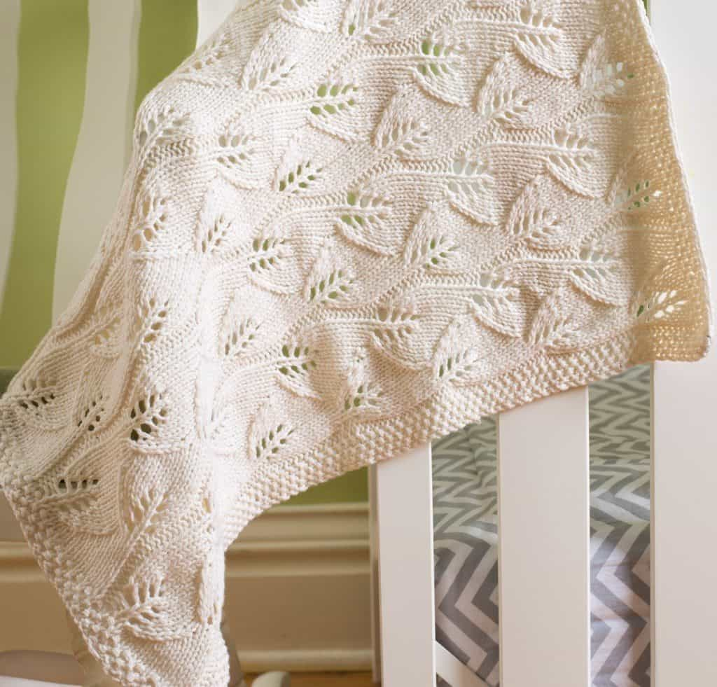 Leafy Baby Blanket - These knitting patterns for baby blankets are easy and adorable you might find yourself making more than just one! #knittingpatterns #babyblanketknittingpatterns #babyblankets