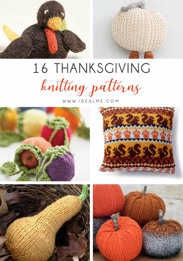 16 Thanksgiving Knitting Patterns - We've got 16 quick and easy Thanksgiving knitting patterns for anything from hats, to centerpiece decorations. #knittingpatterns #thanksgivingknittingpatterns #freeknittingpatterns