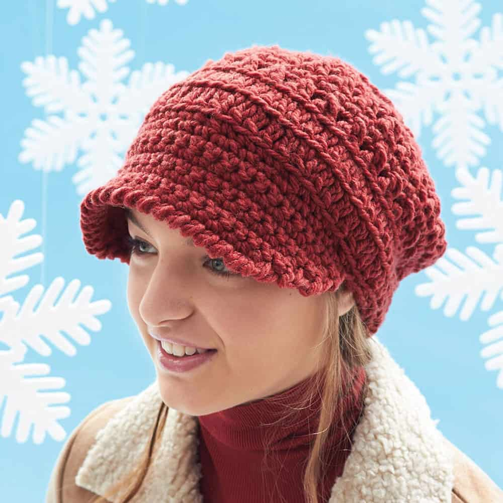 Slouchy Peaked Hat - These 26 crochet winter hat patterns are perfect to create a winter hat accessory that you love and can rely on. #crochetwinterhat #crochetpatterns #crochethatpatterns