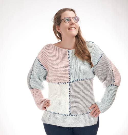 Block Sweater - Keep yourself warm and comfy this season by knitting one of these knitted sweater patterns. You can choose from the basic pullover to a more daring design. #knittedsweaterpatterns #knittingpatterns #knitsweaterpatterns