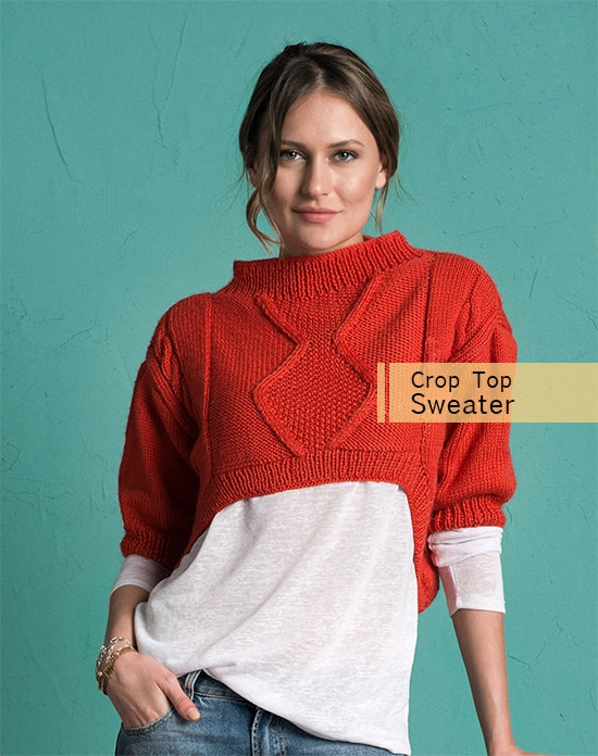 Crop Top Sweater - Keep yourself warm and comfy this season by knitting one of these knitted sweater patterns. You can choose from the basic pullover to a more daring design. #knittedsweaterpatterns #knittingpatterns #knitsweaterpatterns