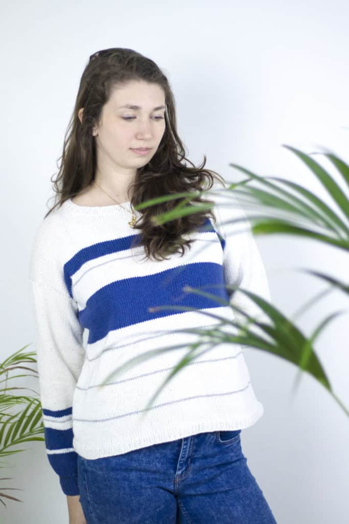 Marina Spring Cotton Sweater - Keep yourself warm and comfy this season by knitting one of these knitted sweater patterns. You can choose from the basic pullover to a more daring design. #knittedsweaterpatterns #knittingpatterns #knitsweaterpatterns