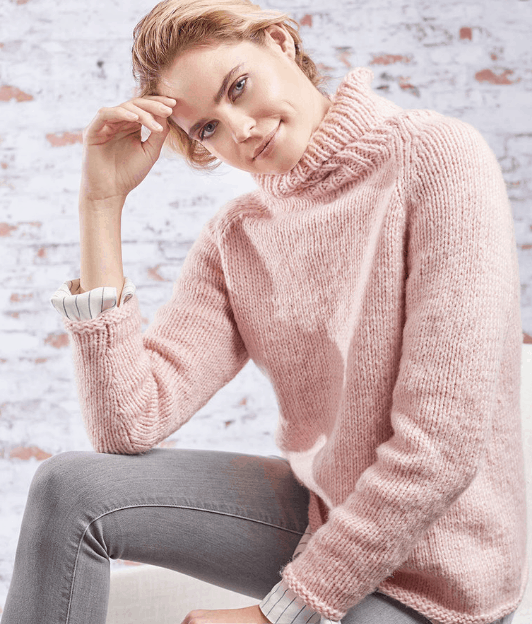 Roomy Relaxed Turtleneck - Keep yourself warm and comfy this season by knitting one of these knitted sweater patterns. You can choose from the basic pullover to a more daring design. #knittedsweaterpatterns #knittingpatterns #knitsweaterpatterns