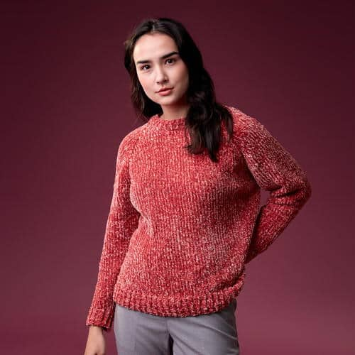 Velvety Soft Knit Sweater - Keep yourself warm and comfy this season by knitting one of these knitted sweater patterns. You can choose from the basic pullover to a more daring design. #knittedsweaterpatterns #knittingpatterns #knitsweaterpatterns